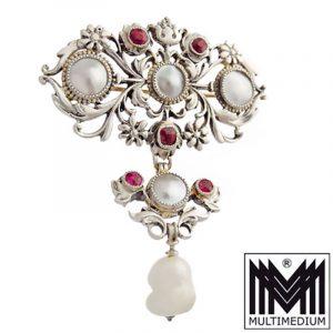 Historismus Silber Brosche 1880 Rubine Perlmutt Neorenaissance silver