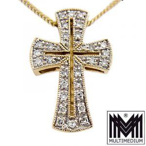 333er Gelbgold Kreuz Anhänger Diamanten gold cross pendant diamonds