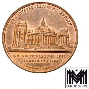 Jugendstil Medaille Einweihung 1894 Reichtagsgebäude Berlin Bismarck