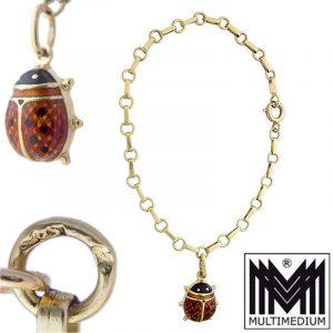 -VERKAUFT - Charm Bettel Armband 585 Gold Emaille Anhänger Marienkäfer emailliert