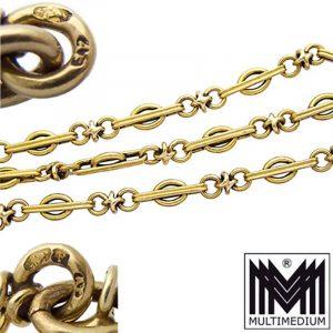 Jugendstil 580 Gelbgold lange Damen Halskette Felzmann Adolf Wien 14ct
