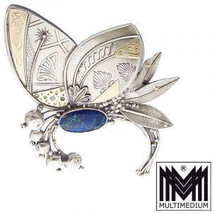 Große XXL Silber Gold Brosche Modernist Schmetterling Art Deco Stil