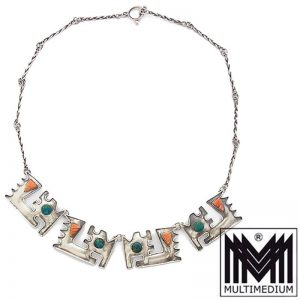 Modernist Silber Collier Halskette Mexiko Mexico silver necklace