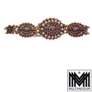 Vintage Granat Perlen Armband Silber vergoldet silver garnet bracelet