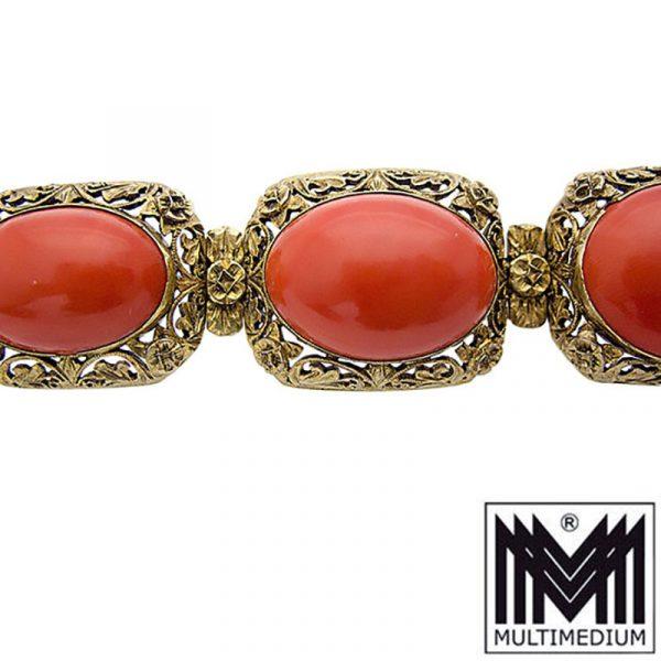 Antikes Jugendstil Lachs Koralle Silber Armband coral silver bracelet