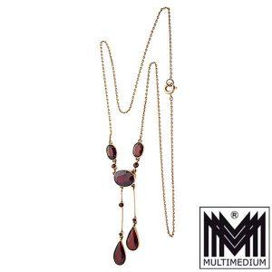 Prager Jugendstil Granat 585 Gold Collier art nouveau garnet necklace