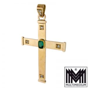 585er Gold Kreuz Anhänger Diamant Gothik Stil cross diamond gothic