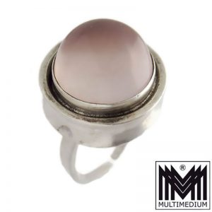 Modernist Ring Silber Rosenquarz Cabochon silver ring From rose quartz