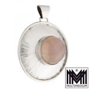 Georg Kramer Modernist Silber Anhänger Rosenquarz silver pendant
