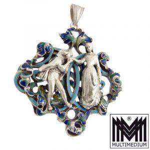 Antiker Historismus Silber Emaille Anhänger Neorenaissance silver