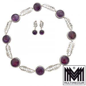Art Deco Silber Collier Ohrringe Halskette Amethyst silver necklace