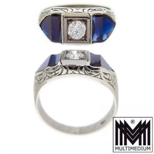 750 Weißgold Ring Diamant Saphir 18ct white gold diamond sapphire