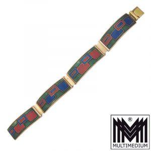 Modernist Mattemaille Armband Schibensky vintage enamel bracelet 70s