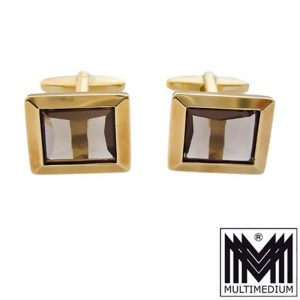 585 Gold Manschettenknöpfe Rauchquarz 14ct cuff links smokey quartz