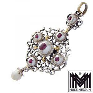 Antiker Silber Barock Anhänger Rubin Perle vergoldet gesägt filigran