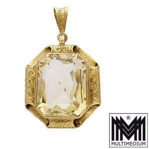 Art Deco Citrin Anhänger Silber vergoldet 30er Jahre silver pendant