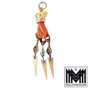 Antiker Victorian 585 Gold Anhänger Koralle Hand 1850 coral pendant