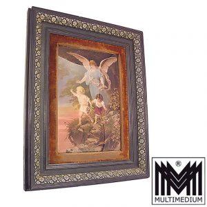 Historismus Engel Hinterglas Bild Holz Rahmen 1880 angel Plockhorst