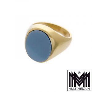 585 Gelbgold Herren Siegel Ring Achat Lagenstein massiv 14ct gold