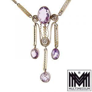 Jugendstil Silber vergoldet Collier Anhänger Amethyst silver necklace