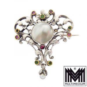 Ernst Engeler Jugendstil Silber Brosche Perlmutt selten silver brooch