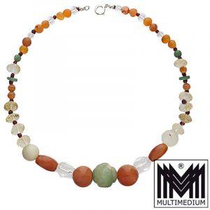 Art Deco Halskette Bergkristall Karneol Jade Granat Achat necklace
