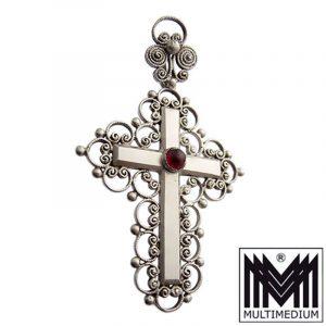 Neo Renaissance Sterling Silber Kreuz Anhänger Granat silver cross
