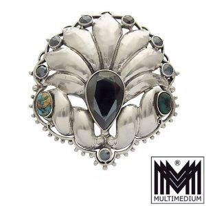 Theodor Fahrner 800 Silber Brosche Hämatit Türkis silver brooch turquoise hematite