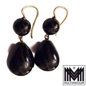 Antike Biedermeier Historismus Tombak Ohrringe Onyx Goldfarbe earring