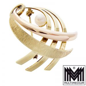 Andreas Daub Art Deco 585 Gold Brosche 14ct brooch 30er bis 50er J.