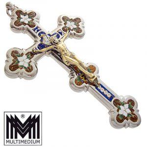 Jugendstil Millefiori Mikromosaik Kreuz Anhänger selten micro mosaic