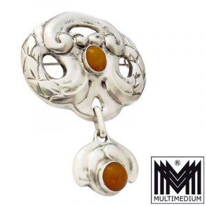Jugendstil Silber Brosche Grann & Laglye Denmark amber silver brooch
