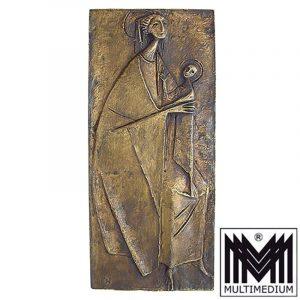 Prof. Erwin Huber Plakette Relief Bronzeguß Maria Madonna mit Christuskind Papst Johannes Paulus II Österreich 1988
