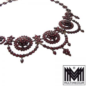 Historismus Granat Collier Tombak garnet necklace
