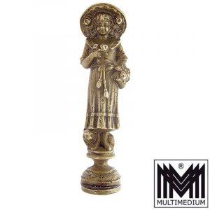 Jugendstil Petschaft Mädchen mit Blumen Messing Art Nouveau seal brass girl