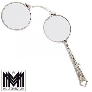 Art Deco Silber Lorgnon Lorgnette Klappbrille 1920 silver