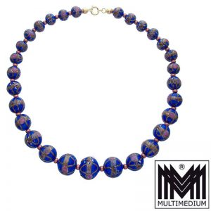 Alte Murano Glas Halskette Blau vintage glass necklace millefiori blue