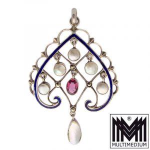 Jugendstil Silber Anhänger Emaille Perlmutt silver enamel pendant
