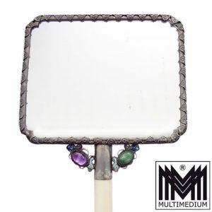 Jugendstil Silber Emaille Handspiegel Lack silver mirror china
