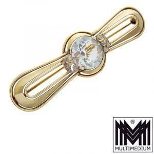 Art Déco 585 Gelbgold Brosche Aquamarin Blau 14ct gold brooch blue