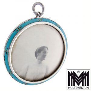 Edwardian Charles & Walter Padgett silver enamel frame locket pendant