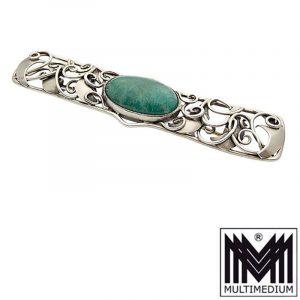 Jugendstil Silber Brosche Amazonit Cabochon silver brooch amazonite
