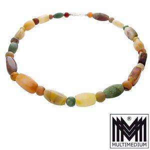 Art Deco Stein Halskette Karneol Jade Jaspis Achat gem stone necklace