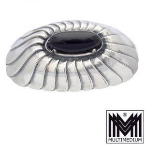 Prachtvolle große antike Art Deco Silber Onyx Paste Brosche silver