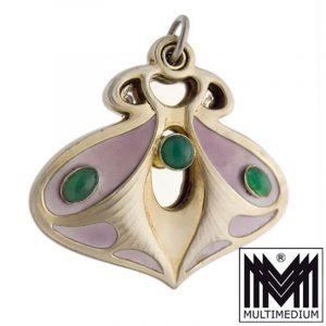 Meyle & Mayer Jugendstil 900 Silber Medaillon Spiegel Anhänger silver