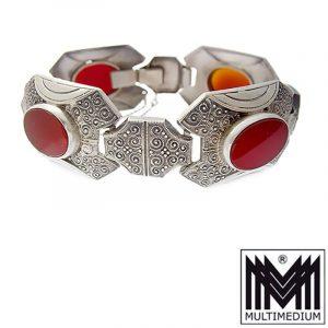 Art Deco Designer Armband Silber Karneol Ornament silver bracelet