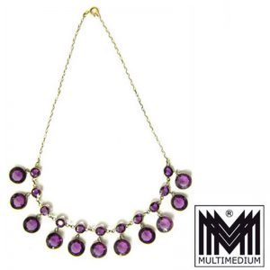 Jugendstil Collier Silber vergoldet lila amethyst farben paste necklace
