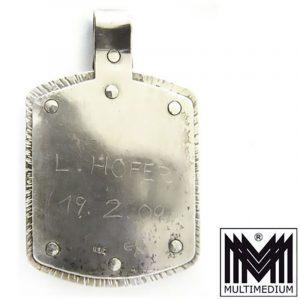 Jugendstil Silber Anhänger um 1909 mit blauem Stein signiert Arts & and Crafts