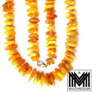 Natur Bernstein Butterscotch Kette poliert Verschluß 8ct Gold Amber 85g