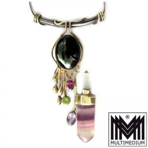 Modernist Silber Collier Halskette Bergkristall Amethyst Florit Peridot Granat